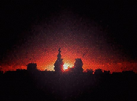 Abstract, Sunset, City, Before Night, Mosaic