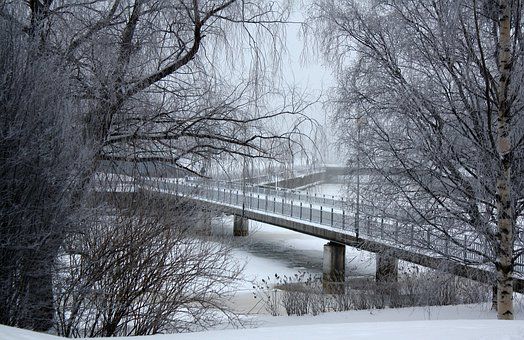 Finland, Bridge, Architecture, River, Water, Frozen