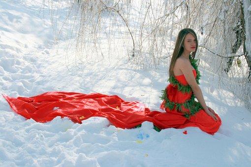 Girl, Snow, Dress, Red, Life, Blonde, Beauty, White