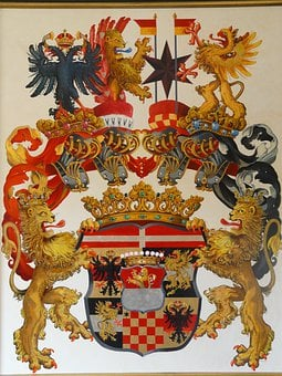 Coat Of Arms, Painting, Colorful, Lion, Color