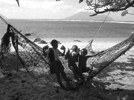 Kids, Hammock, Play, Sea, Playing, Beach