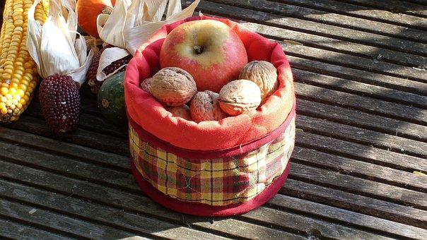 Autumn Vitamins, Checkered, Fabric, Apple, Nuts