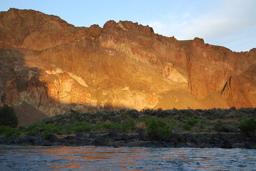 Mountains, Sunset, River, Owyhee River, Dusk, Colors