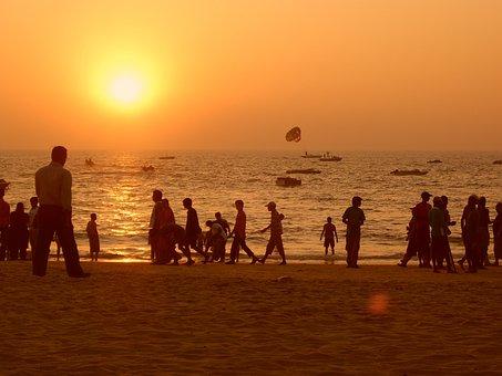 Sunset, India, Travel, Beach, Orange Sky, People