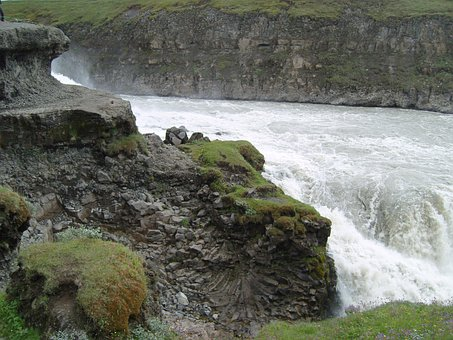 Waterfall, Iceland, Nature, Force Of Nature, Rock