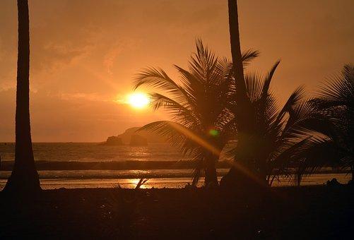 Sunset, Beach, Costa Rica, Vacation, Water, Sea, Ocean