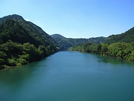 Hida River, Japan, Mountains, Forest, Trees, Woods