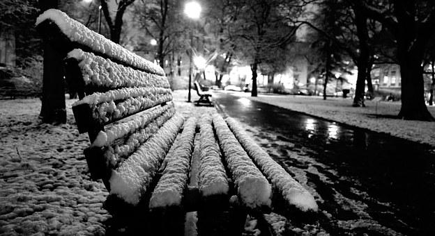 Winter, Bench, Park, Spacer, Kraków