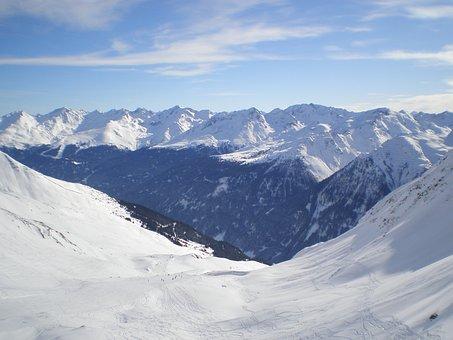 Winter, Mountains, Runway, Skiing, Paznaun, Kappl