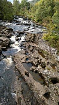 Killin, Scotland, Dochart, Water, Rocks, Waterfall