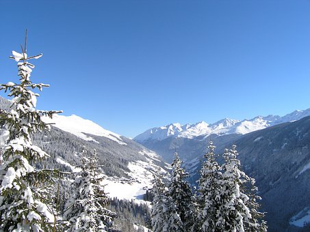 Mountains, Winter, Panorama, Paznaun, Kappl