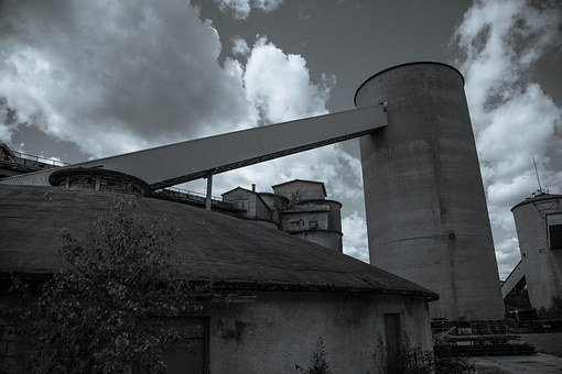 Abandoned Factory, Black And White, Outdoors, Abandoned