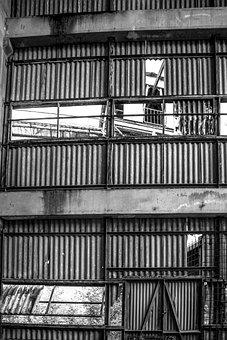 Rusty Wall, Metallic Shack, Old Factory, Abandoned