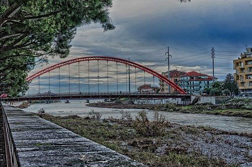 Albenga, Bridge, Arc, Red, Suspended, Centa, River