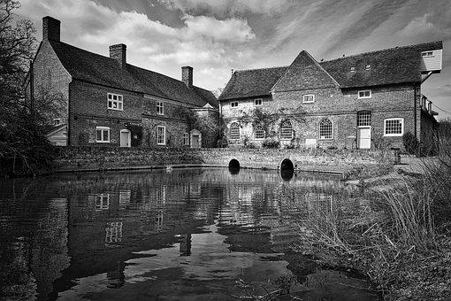 Flatford Mill, Pond, Farm, Barn, Constable, Painting