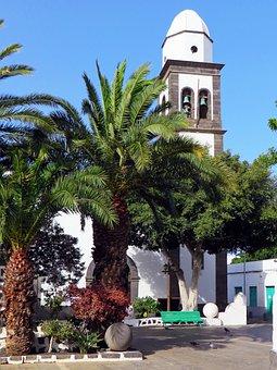 Spain, Canary, Lanzarote, Arrecife, Church, Place