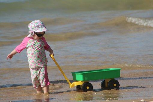 Child Playing, Beach, Children Playing