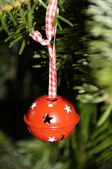 Ball, Bell, Red, Christmas, Tree Decorations, Fir