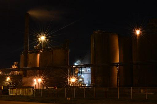 Industry, Industrial Area, Night, Factory, Machine