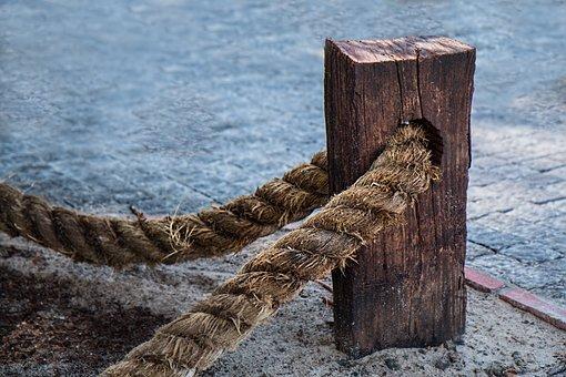 Rope, Fasten, Steadfast, Fastening, Wooden, Post