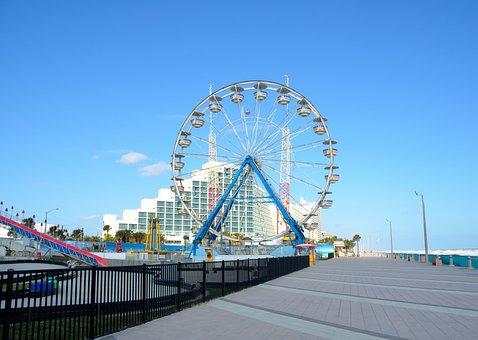 Daytona Beach, Florida, Boardwalk, Amusement, Rides