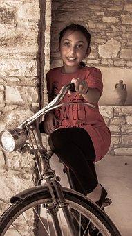 Girl, Kid, Posing, Bicycle, Antique, Smile, Happy