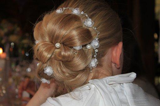 Hairstyle, Hair, Head, Blond, Girl, Child, Communion