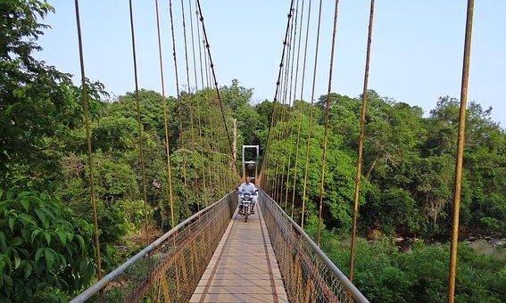 Bridge, Hanging, Suspension, Rope, Cable, River
