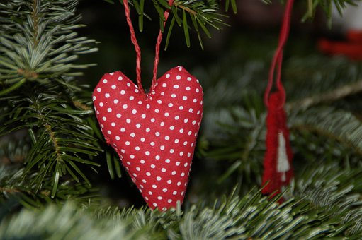 Heart, Red, Tilda, Christmas, Tree Decorations, Fir
