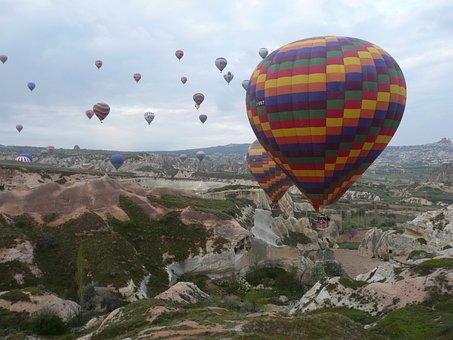 Turkey, Cappadocia, Hot Air Balloon, Mountain, Cave