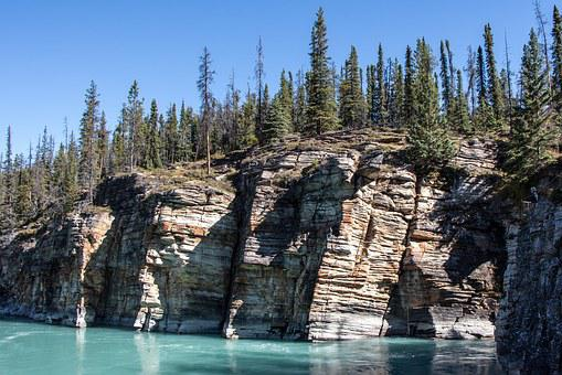 Athabasca River, Cliff, Forest, Jasper, Alberta, Canada