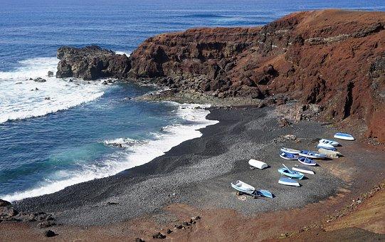 El Golfo, Fishing Boats, Lanzarote, Atlantic, Surf