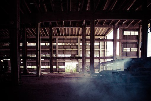 Old Factory, Dusty, Large Space, Emptiness, Abandoned