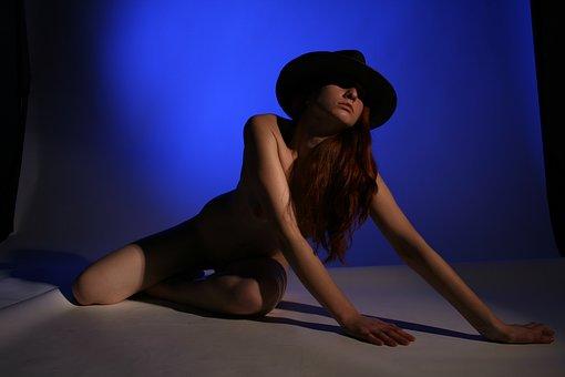 Model, People, Woman, Nude, Darckness, Hat, Erotic