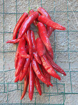 Pepperoni, Chilli, Sharp, Red, Fiery, Suspended, Pods