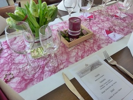 Table Decorations, Communion Of Children, Tulips, Pink