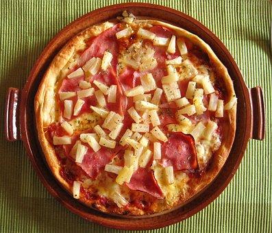 Pizza Hawaiian, Pizza Plate, Court, Italian, Food