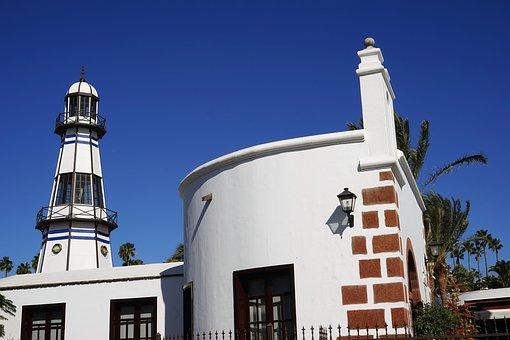 Puerto Del Carmen, Port, Lighthouse, Sky, Lanzarote