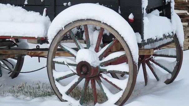 Wagon, Wheels, Winter, Snow, Rustic, Rural, Antique