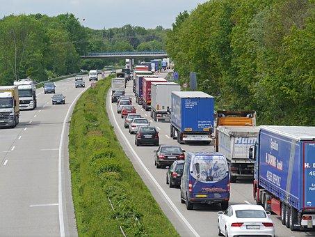 Highway, Jam, Baustelle Jam, Pkw, Truck, Lanes