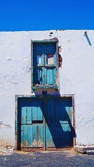 Door, Blue, Sky, Blue Sky, French Doors, Window