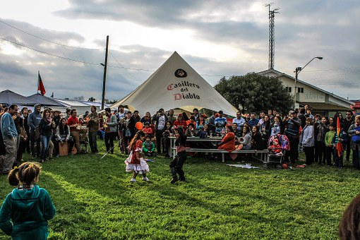 Children, Children Dancing Cueca, Grass, National Dance