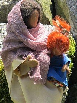 Woman, Child, Arm, Stones, Eglifigur