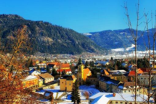 Friesach, Austria, Town, Village, Mountains, Snow