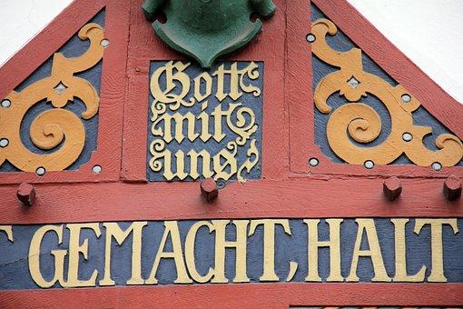 House, Truss, Inscription, Gold