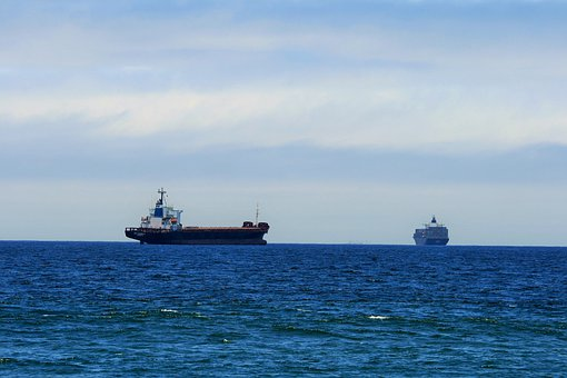 Sea, Ships, Cargo, Container, Sitting, High, Waiting