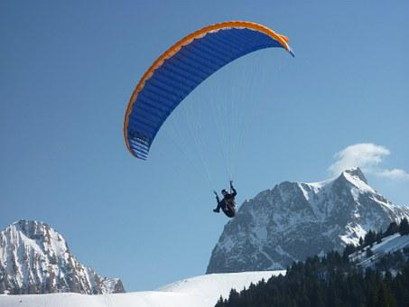 Paragliding, Fly, Snow, Sport Flying Device, Mountains