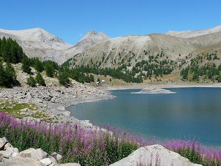 Allos Lake, Mountain, Hiking, Nature, Landscape, Alps