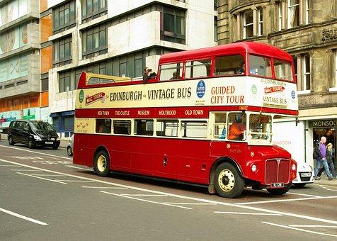 Bus, Tourists, Scotland, Edinburgh