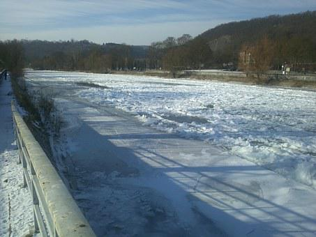 River, Ice, Winter, Esneux, Ourthe, Gel